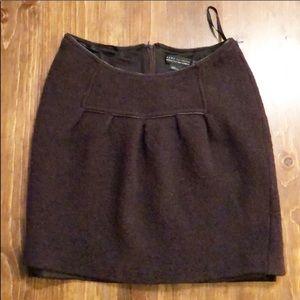 Zara Basic 100% Wool Dark Brown Mini Skirt